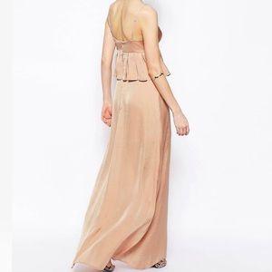 Beige peplum front split gown - new Sz 10